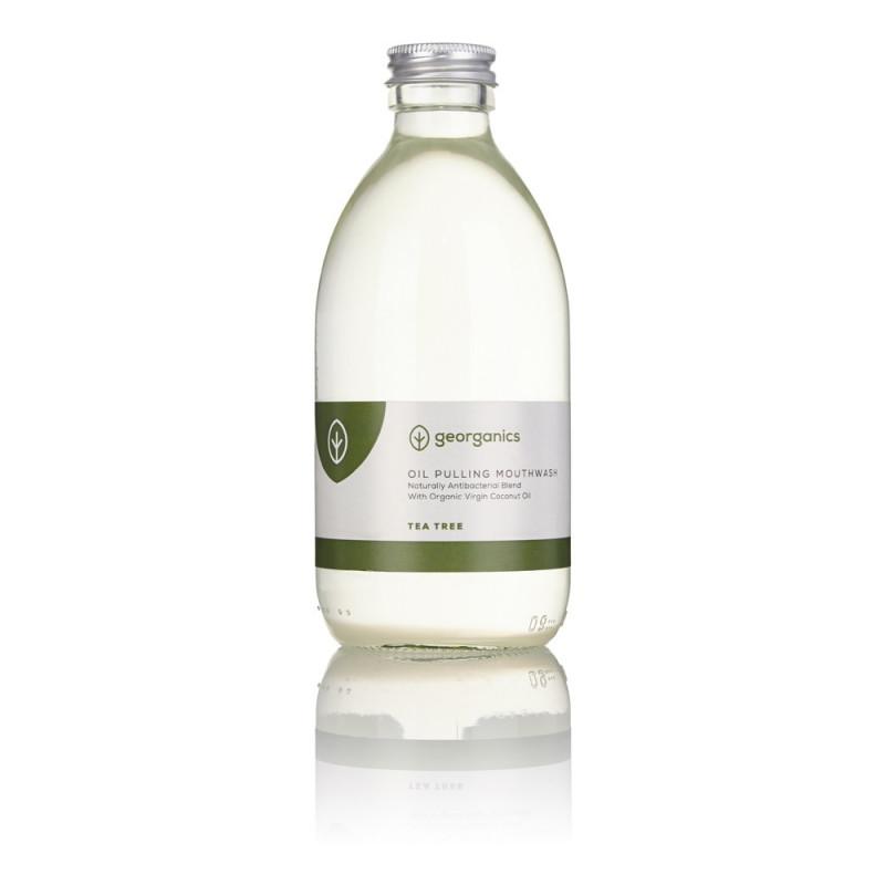 "Enjuague Bucal Natural Antibacteriano ""Oil Pulling"" de Aceite de Coco - Árbol de Té 300ml"